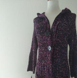 BCBG maxazria maroon hooded cardigan